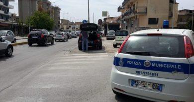 aversa marciapiede parcheggio polizia municipale