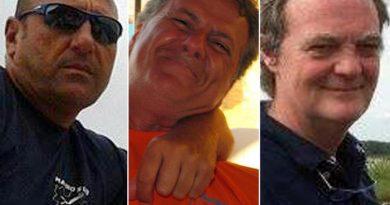 Da sinistra Mauro Cammardella, Mauro Tancredi e Silvio Anzola, i tre sub morti a Palinuro.