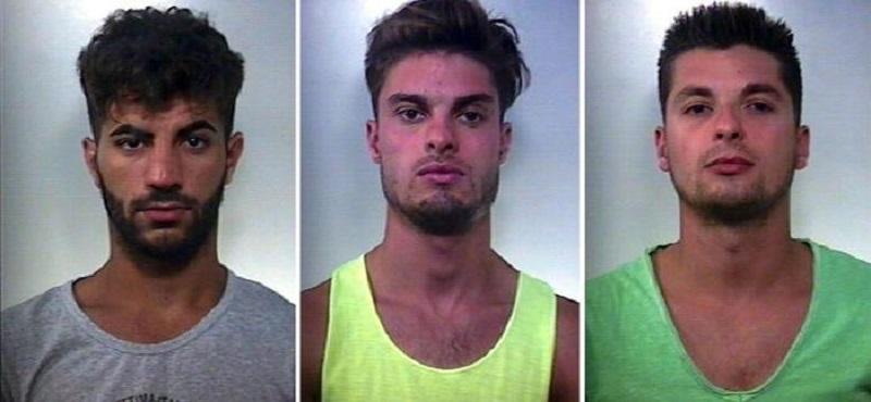 La foto combo ritrae (S-D) Davide Severo, Giacomo Severo e Antonino Spitale, i tre uomini arrestati per l'aggressione a tre egiziani minorenni nel Catanese (ANSA/ CARABINIERI)