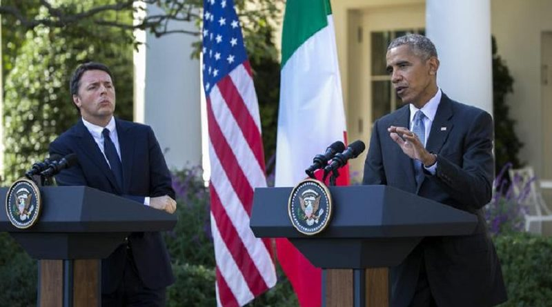epa05590902 US President Barack Obama (R) and  Italian Prime Minister Matteo Renzi (L) participate in a joint press conference in the Rose Garden of the White House in Washington DC, USA, 18 October 2016. Later today President Obama and First Lady Michelle Obama will host their final state dinner featuring celebrity chef Mario Batali and singer Gwen Stefani performing after dinner.  EPA/SHAWN THEW