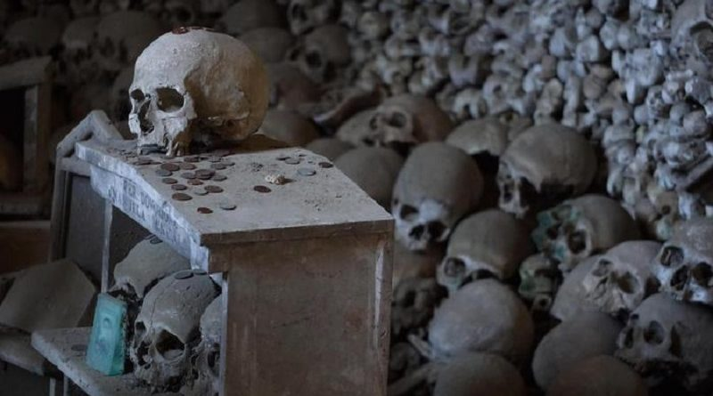"""Skulls and bones in the Fontanelle cemetery in Naples, southern Italy, 31 October 2016. The Fontanelle cemetery is the epicenter of what is known as """"The Neapolitan Cult of the Dead,"""" or """"The Neapolitan Skull Cult."""" It is a vast underground ossuary located in a cave in the tuff hillside at the heart of the Sanità quarter, once used to bury the corpses of people for whom there was no room in the public graves at the churches within the city. Before long it become a place of popular worship and the focal point for various rites, legends and tales of miracles. The anonymous bones are the object of great devotion and have always been referred to by the Neapolitans as the anime 'pezzentelle', or 'little wretches', thus creating a link between the living and the dead. ANSA/CESARE ABBATE"""