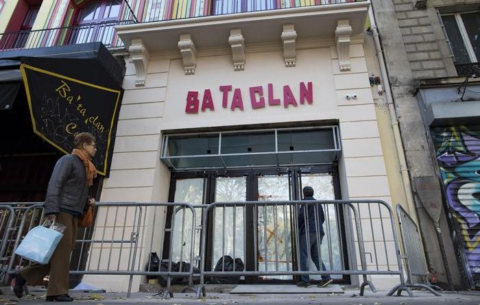 epa05605748 A view of the new facade of the Bataclan concert venue after renovations, in Paris, France, 27 October 2016. The Bataclan underwent a year-long renovation after the 13 November terrorist attacks on the site in which 83 people were killed.  EPA/IAN LANGSDON