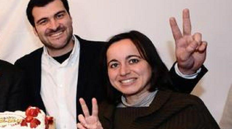 (Da sinistra) Fabrizio Bocchino, Chiara Di Benedetto, Loredana Lupo, i gia' sicuri eletti Francesco Campanella e Riccardo Nuti e Claudia Mannino nella sede del Comitato elettorale del Movimento 5 Stelle, Palermo, 25 febbraio 2013. ANSA/MIKE PALAZZOTTO