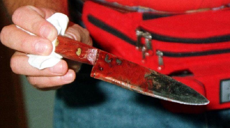 REGGIO EMILIA, 23 LUG - UCCIDE A COLTELLATE MADRE E SORELLA E POI VA A COSTITUIRSI. Il coltello da cucina con il quale Oser Zambonini, 28 anni, ha ucciso a coltellate questa notte in preda a un raptus la madre e la sorella di 25 anni nell'appartamento dove vivevano a Vezzano sul crostolo, in provincia di Reggio Emilia.                  MAMO/BENVENUTI        /      ANSA
