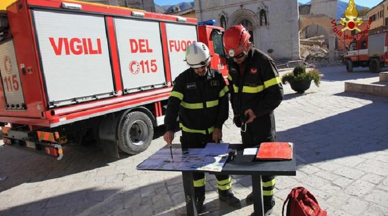 The handout image made available by the Italian Fire Department shows firefighters at work in Norcia, Umbria region, the day after the strong earthquake that hit central Italy, 31 October 2016. Thousands of people are homeless after Sunday's 6.5-magnitude earthquake near Norcia rocked central Italy. The new quake compounded the already difficult situation in an area devastated by earthquakes on August 24 and October 26. ANSA/ ITALIAN FIRE DEPARTMENT   +++ HO - NO SALES - EDITORIAL USE ONLY +++