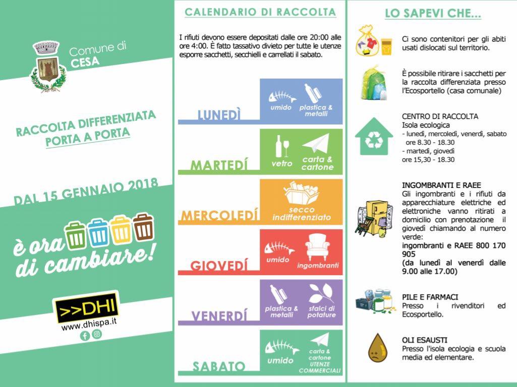 Calendario Raccolta Differenziata Napoli.Cesa Dal 15 Gennaio Nuovo Calendario Raccolta Differenziata